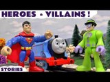 HEROES VS. VILLAINS --- Join a host of Superheroes including Spiderman, Batman and Superman battle against villains including the Riddler and the Joker, Featuring Play Doh, Thomas and Friends, TMNT, Minions, and many more family fun toys