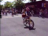 July 4th 2009 Bend Oregon Bike Parade Guy Rides Funny Tandem Bicycle by himself metal cutout