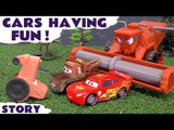 CARS HAVING FUN! --- Join Lightning McQueen and Mater from Disney Cars in Tractor Tipping Fun while they Race Hulk, Captain America and Iron Man from the Avengers, also featuring Frank, Spiderman, TMNT, Batman and many more fun family toys