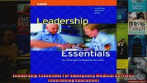 Leadership Essentials For Emergency Medical Services Continuing Education