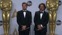 OSCAR WINNERS Leonardo DiCaprio and Alejandro G Iñárritu Oscars Backstage Interview (2016)