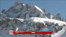 Terrible chute du skieur Stefan Jཬ projeté contre des rochers pendant une descente risquພ