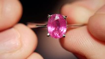 Mozambique Ruby Ring Size US 7 3/4 & UK P 1/4 - Sterling Silver Plated with White Gold  -$35 or £22