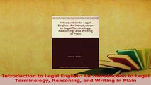 Read  Introduction to Legal English An Introduction to Legal Terminology Reasoning and Writing Ebook Free