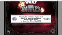"Free Star Wars Medal from Toys ""R"" us from Epic Battles HOTH"