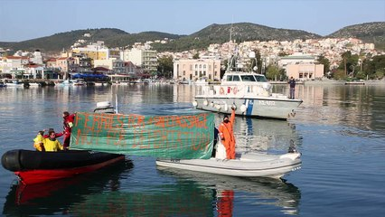 Διαμαρτυρία ακτιβιστών στο λιμάνι της Μυτιλήνης
