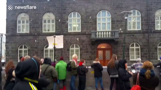 Protester throws a yoghurt at Iceland's parliament building