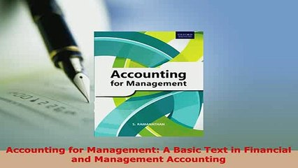 PDF  Accounting for Management A Basic Text in Financial and Management Accounting Read Online