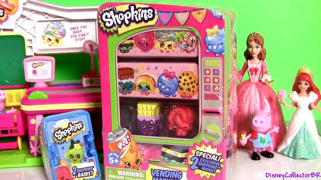 SHOPKINS VENDING MACHINE Disney Frozen Princess Anna Shopping with George From Peppa Pig Nickelodeon