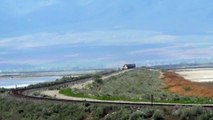EBD Union Pacific Railroad mixed freight train crosses Great Salt Lake 5/8/2014