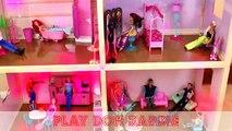 Barbie Dollhouse Frozen Elsa and Anna Dolls Mansion Dollhouse Spiderman Ariel Merman DisneyCarToys