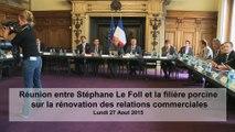 Réunion entre Stéphane LE FOLL et la filière porcine sur la rénovation des relations commerciales