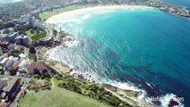 Aerial film of Bondi, Bronte and Tamarama Beaches, Sydney, Australia