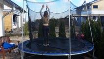 back handspring on a garden trampoline