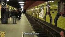 [Berliner U-Bahn] Ein- und Ausfahrt eines F87-90-90-Zuges nach Rudow