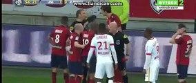 Renato Civelli Horror Foul And Gets RED CARD - Lille vs Monaco 10.04.2016