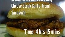 Crock Pot Italian Beef Philly Cheese Steak Garlic Bread Sandwich Recipe
