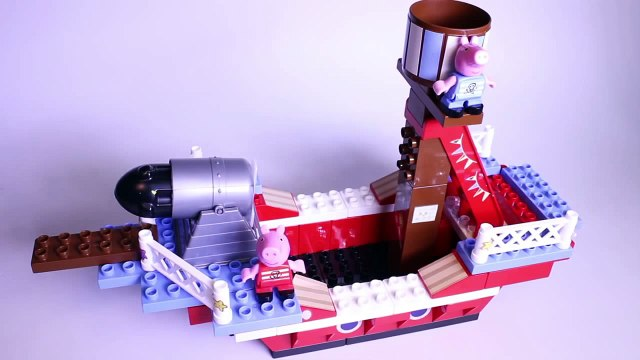 Peppa Pig Pirate Ship Blocks Peppa Pig Building Toys Peppa and George Barco Pirata Megabloks Part 7