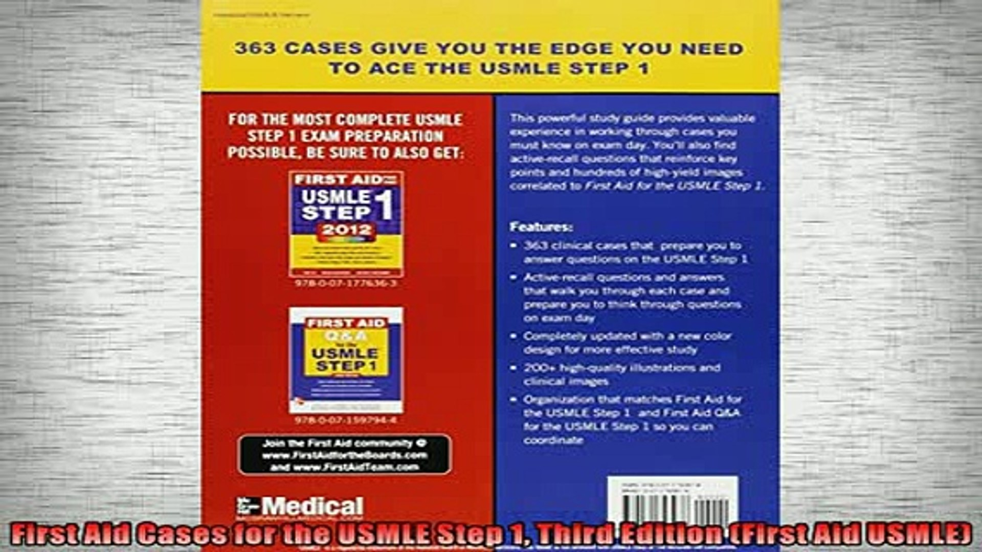 Free PDF Downlaod First Aid Cases for the USMLE Step 1 Third Edition First  Aid USMLE FREE BOOOK ONLINE