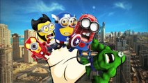 Minions Spiderman Cartoons Finger Family Children Nursery Rhymes   Minions Hulk Finger Family Rhymes