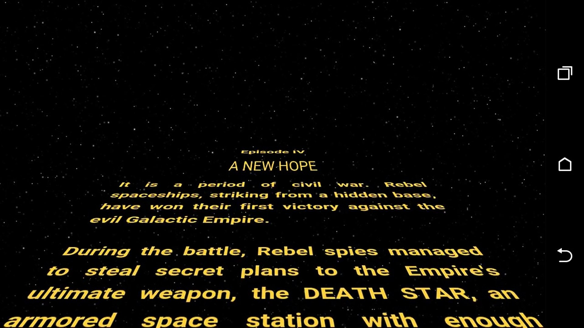 Star Wars Episode Iv A New Hope Opening Crawl Video Dailymotion