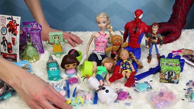 FROZEN SURPRISE TOYS PINATA!!! DisneyCarToys & Spiderman Open Kinder Surprise Eggs Blind Bags Barbie