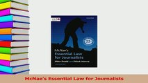 Read  McNaes Essential Law for Journalists Ebook Free