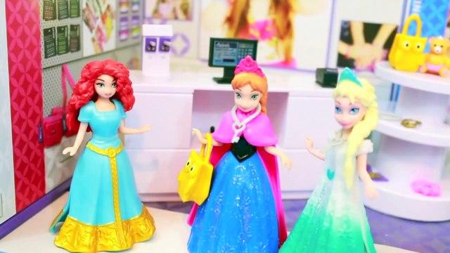 Elsa Frozen EARS PIERCED AllToyCollector goes SHOPPING with Princess Anna Disney Frozen MiWorld