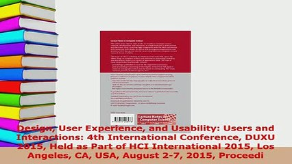 Download Design User Experience And Usability Users And Interactions 4th International Conference Free Books Video Dailymotion