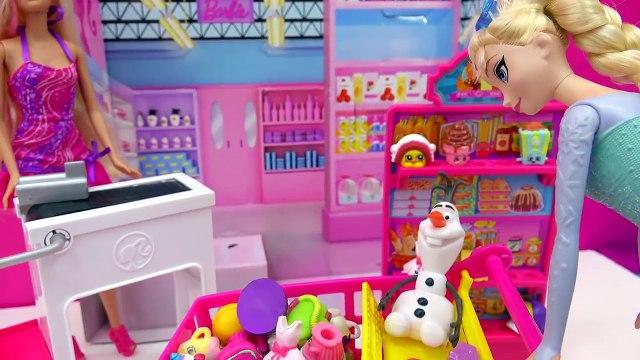 Unboxing Season 4 Shopkins 12 Pack in Disney Frozen Queen Elsa Shopping Cart - Toy Video