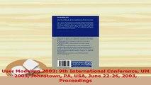 PDF  User Modeling 2003 9th International Conference UM 2003 Johnstown PA USA June 2226 2003 Free Books