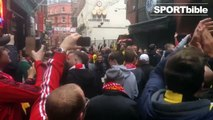 Borussia Dortmund and Liverpool FC fans having a party at Mathew Street!
