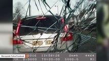 Bizarre Dashcam Video Shows Two Men Throwing Bricks At Patrol Car