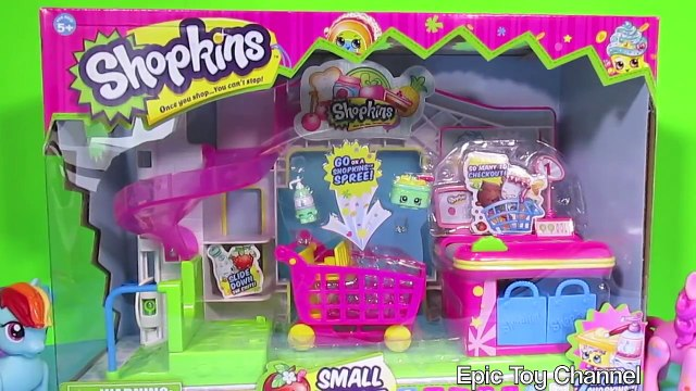 SHOPKINS Small Mart with My Little Pony 2 SHOPKINS Toys Shopkins Play Set Surprise Eggs Parody