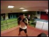 sugar boxing coach dim using the pads