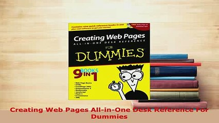 PDF  Creating Web Pages AllinOne Desk Reference For Dummies Free Books