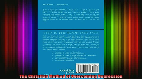 Read  The Christian Method of Overcoming Depression  Full EBook