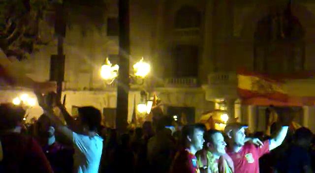 Spain Wins 2010 FIFA Soccer World Cup Valencia celebration