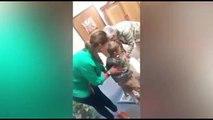 Cette mère veut fesser avec une batte son fils tenu par sa grand mère !! Quelle honte !!