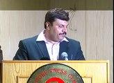 Zabir Saeed Badar thanking participants at Lahore Press Club launching ceremony Pakistan aur Fauj.