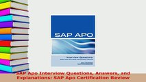 PDF  SAP Apo Interview Questions Answers and Explanations SAP Apo Certification Review Download Full Ebook