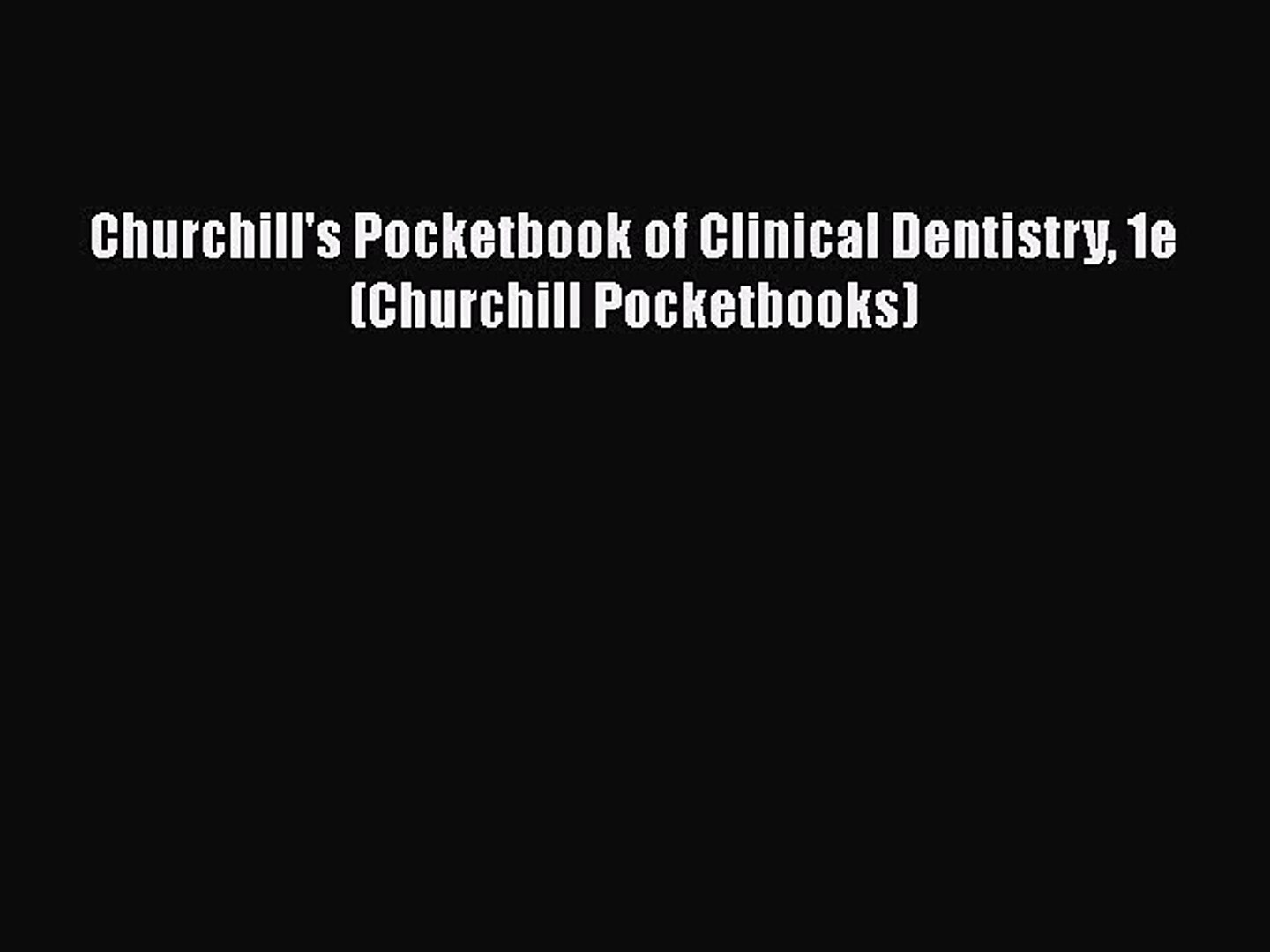 Overview & Summary ofChurchill's Pocketbook of Surgery (Churchill Pocketbooks) Book