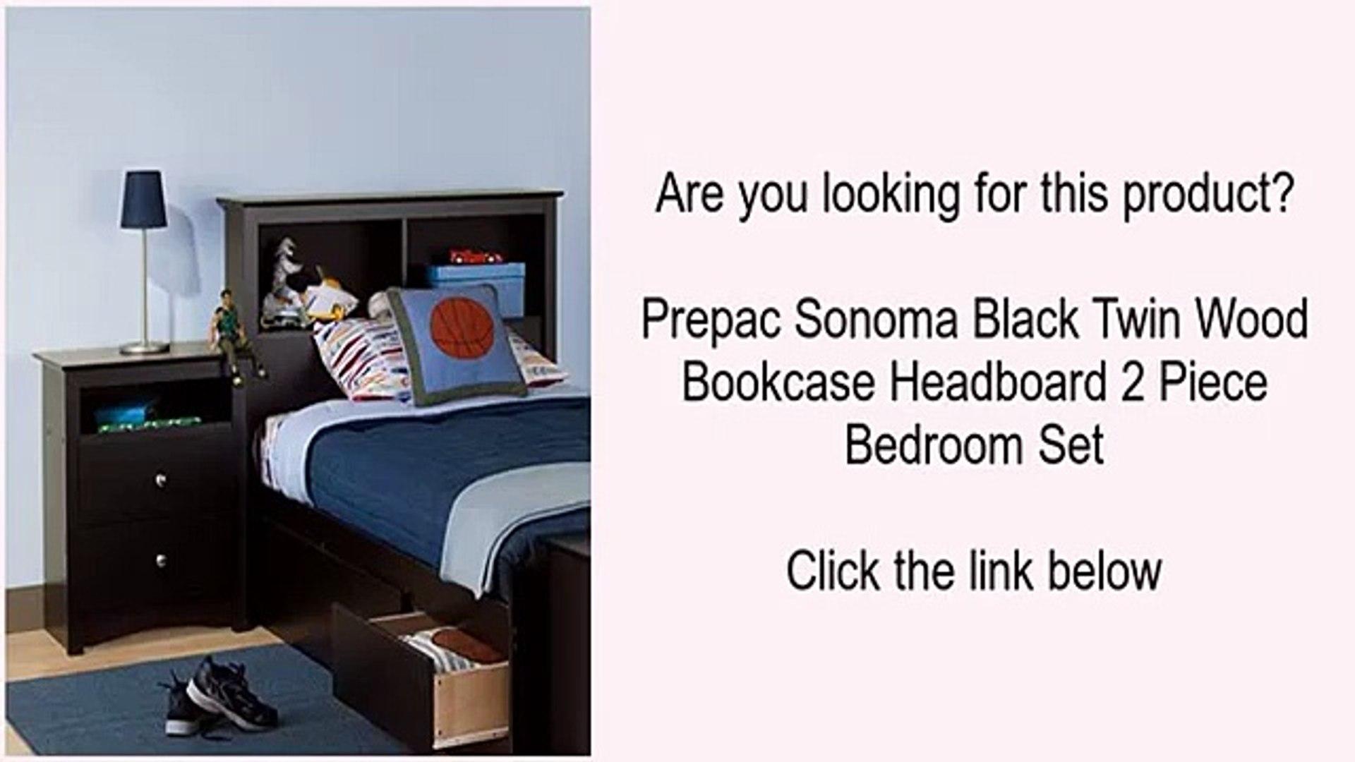 Prepac Sonoma Black Twin Wood Bookcase Headboard 2 Piece