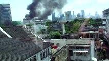 Thai Stock Exchange burning down in Klong Toey, Bangkok, Thailand