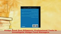 PDF  Hedge Fund Due Diligence Professional Tools to Investigate Hedge Fund Managers PDF Book Free