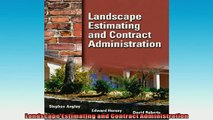 Reads] Landscape Estimating and Contract Administration Free