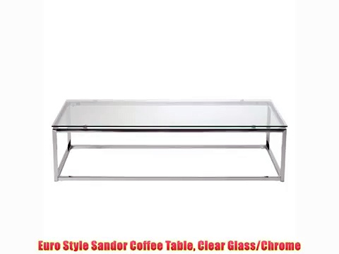 Euro Style Sandor Coffee Table Clear Glass/Chrome