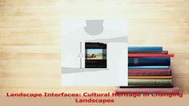 Read  Landscape Interfaces Cultural Heritage in Changing Landscapes Ebook Online