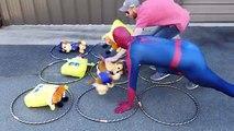 REAL LIFE TIC TAC TOE using PAW PATROL + SPONGEBOB - Spiderman Batman Superheroes IRL video