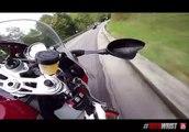 Course illégale entre 2 motards sur une route de montagne... Dingue
